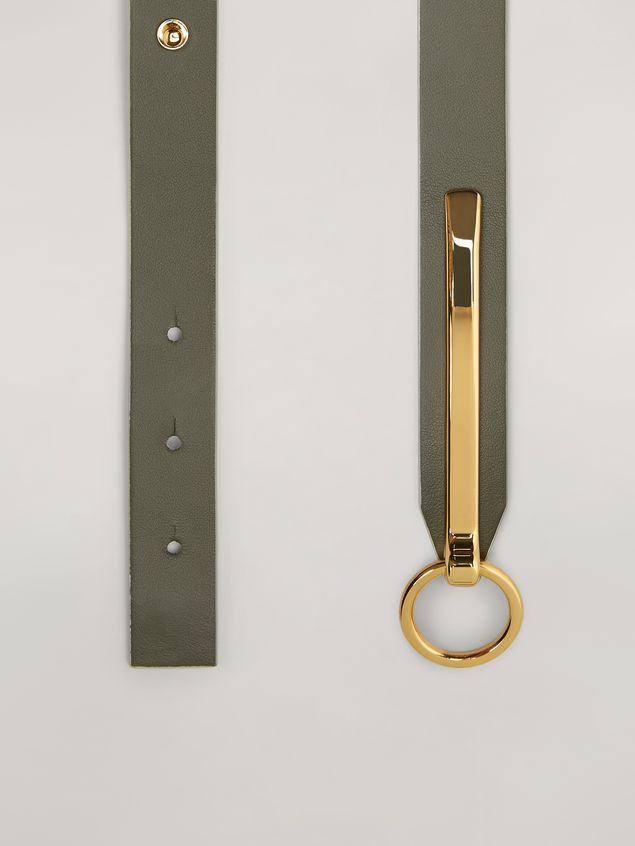 Marni Skinny belt in calf with round buckle green and pink Woman - 4