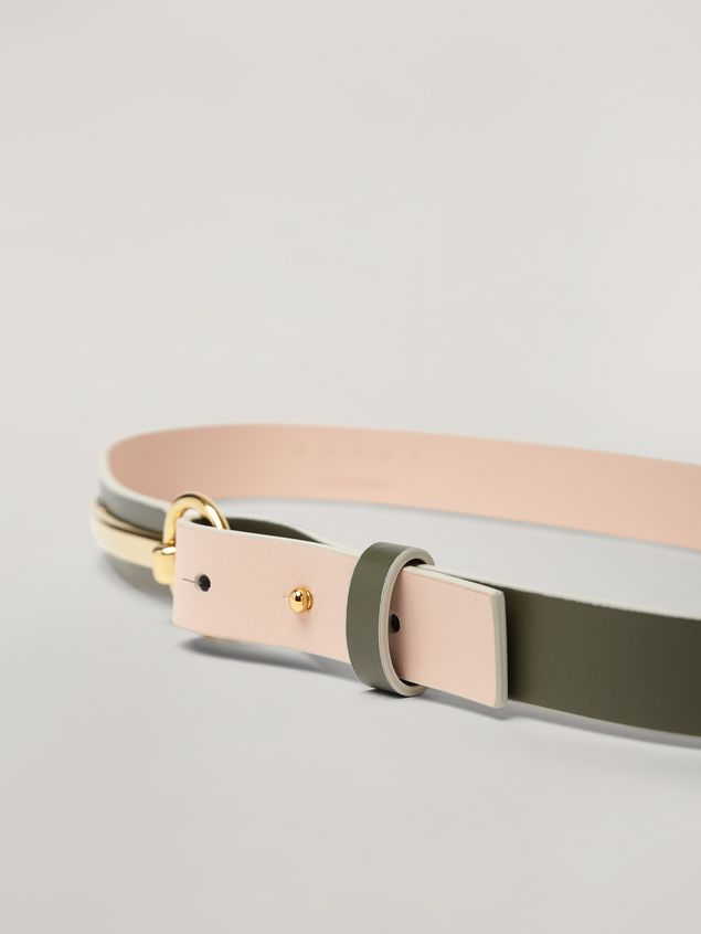 Marni Skinny belt in calf with round buckle green and pink Woman - 3