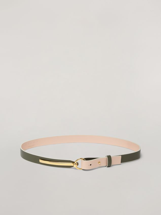 Marni Skinny belt in calf with round buckle green and pink Woman - 1