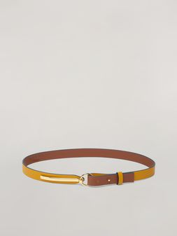 Marni Skinny belt in calf with round buckle yellow and brown Woman