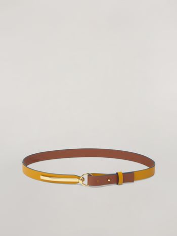 Marni Skinny belt in calf with round buckle yellow and brown Woman f