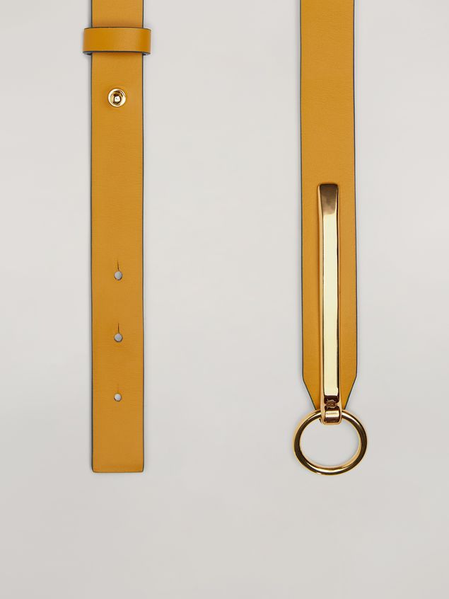 Marni Skinny belt in calf with round buckle yellow and brown Woman - 4