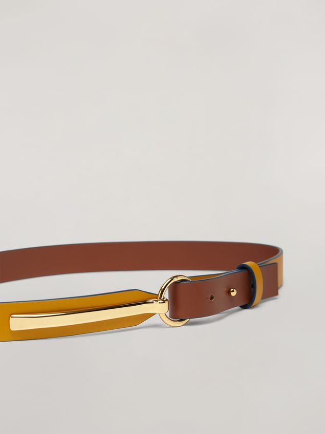 Marni Skinny belt in calf with round buckle yellow and brown Woman - 3