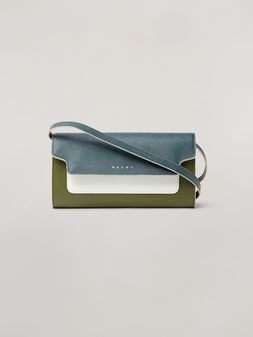 Marni Saffiano leather bellows wallet petroleum white and green Woman