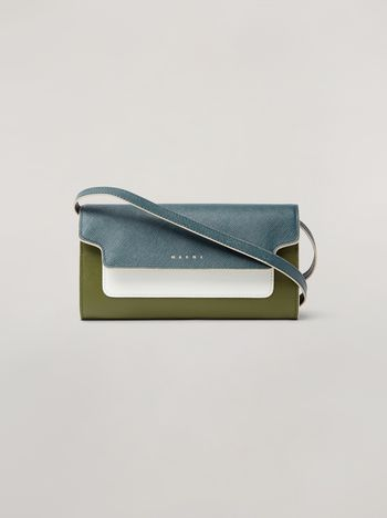 Marni Saffiano leather bellows wallet petroleum white and green Woman f