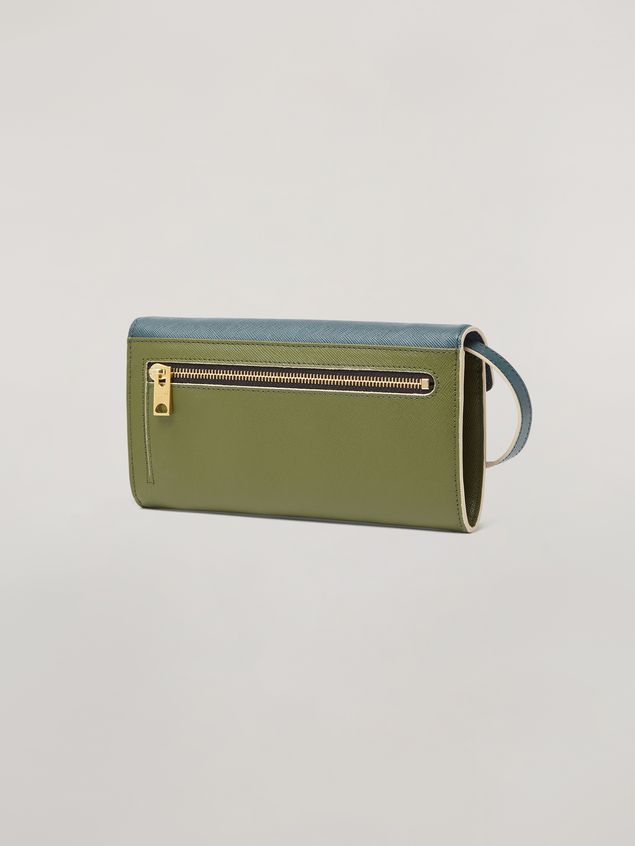 Marni Saffiano leather bellows wallet petroleum white and green Woman - 3