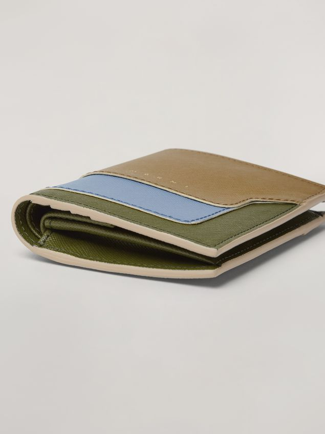 Marni Saffiano leather bi-fold wallet beige pale blue and green Woman - 5