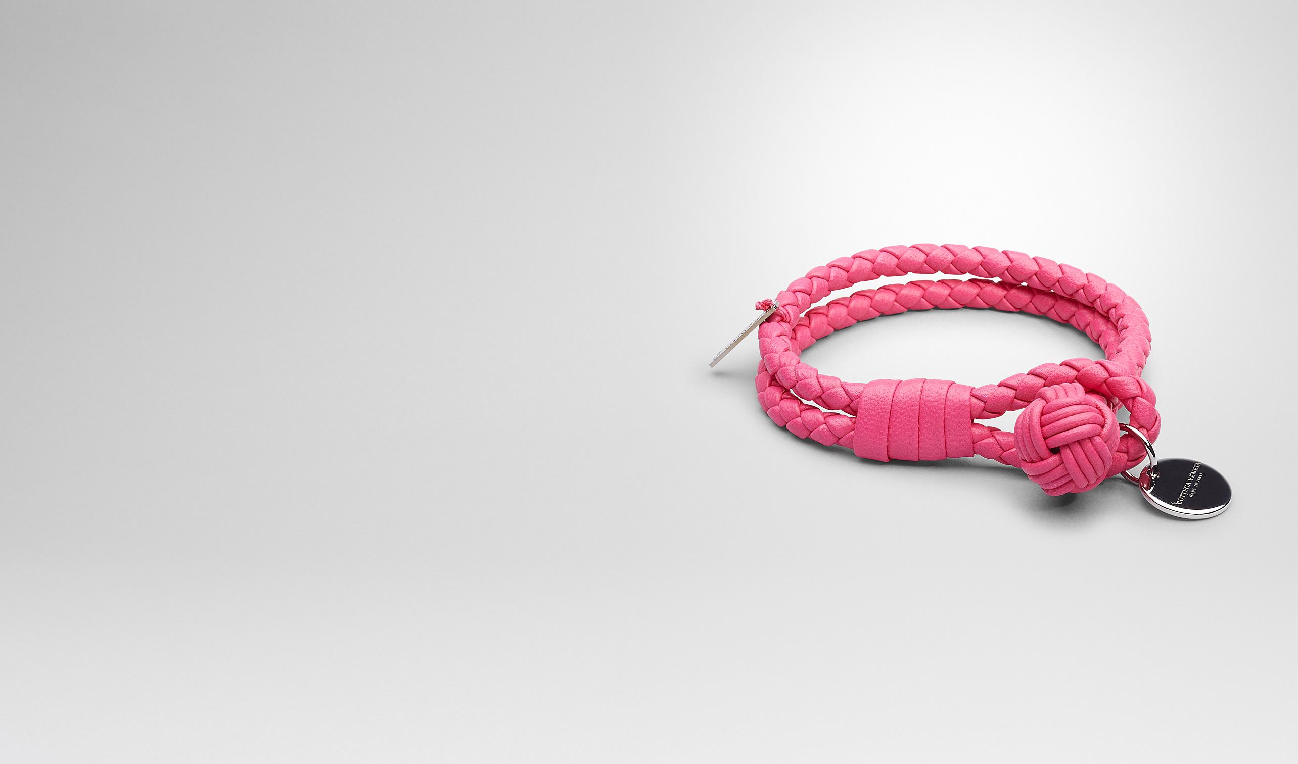 BOTTEGA VENETA Keyring or Bracelets E Rosa Shock Intrecciato Nappa Bracelet pl