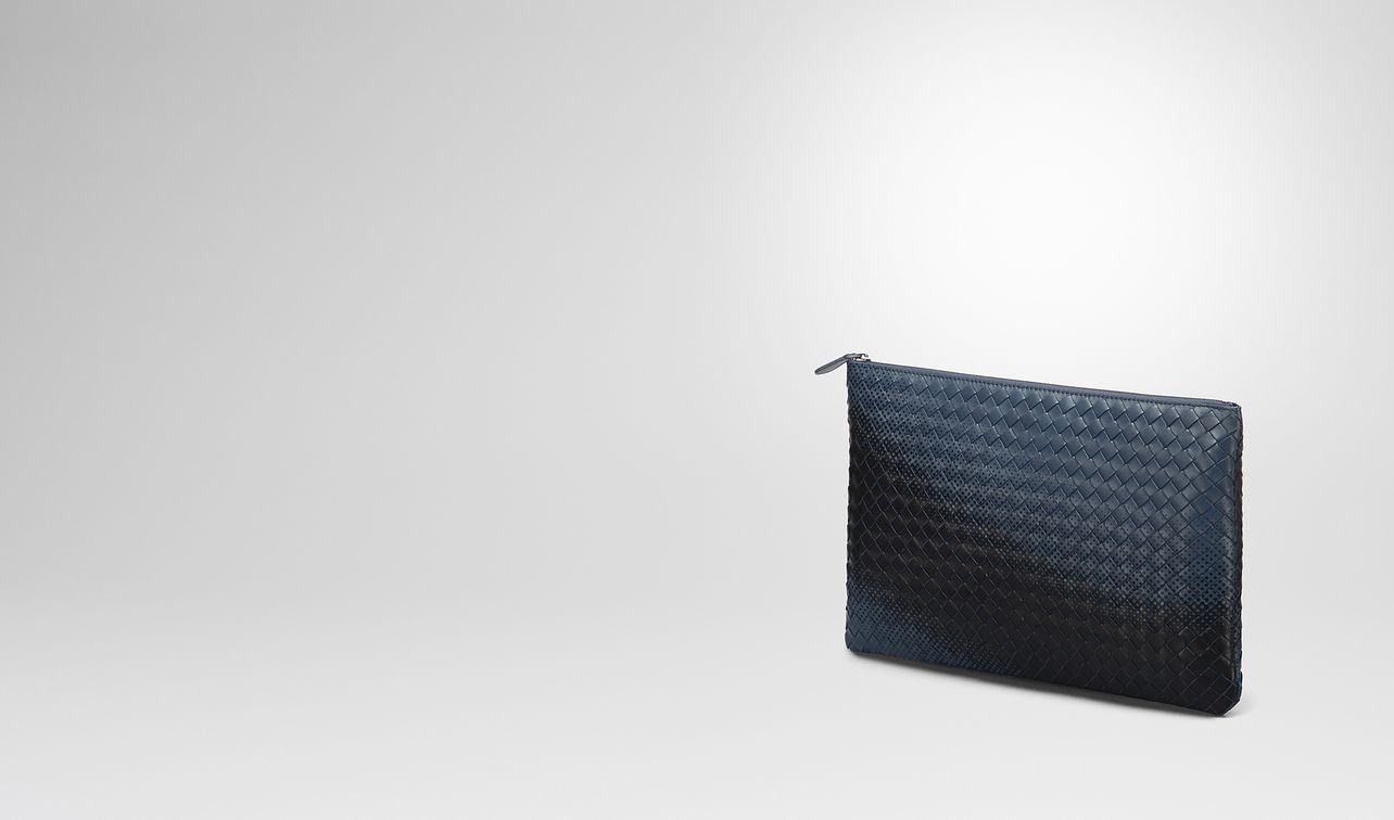 pochette galaxy in intrecciato nappa denim landing