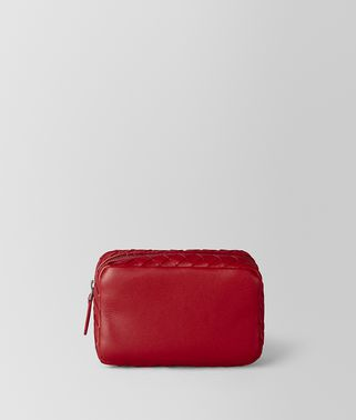 CHINA RED INTRECCIATO NAPPA COSMETIC CASE