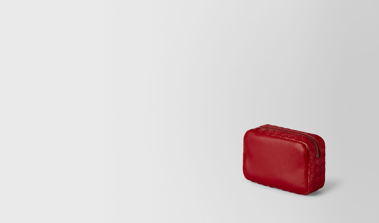 china red intrecciato nappa cosmetic case landing