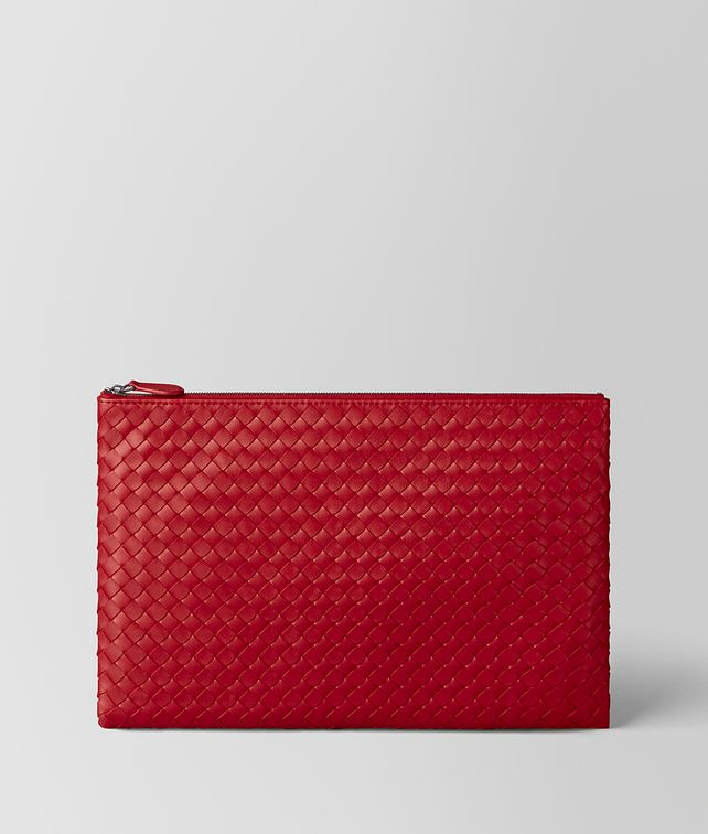 BOTTEGA VENETA POCHETTE BILETTO IN INTRECCIATO NAPPA CHINA RED Altro accessorio in pelle E fp