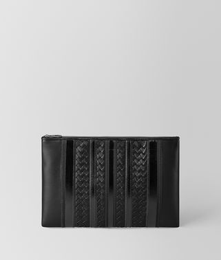 POCHETTE TECH STRIPE IN NAPPA NERO