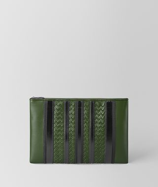 POCHETTE TECH STRIPE IN NAPPA FOREST/NERO