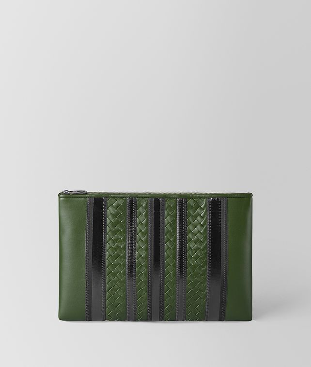BOTTEGA VENETA FOREST/NERO NAPPA TECH STRIPE POUCH Pouch and case [*** pickupInStoreShippingNotGuaranteed_info ***] fp