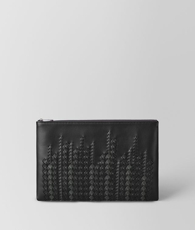 BOTTEGA VENETA NERO/ARDOISE NAPPA POUCH Other Leather Accessory [*** pickupInStoreShippingNotGuaranteed_info ***] fp