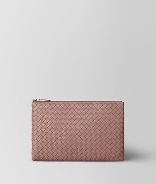 POCHETTE BILETTO IN INTRECCIATO NAPPA DECO ROSE