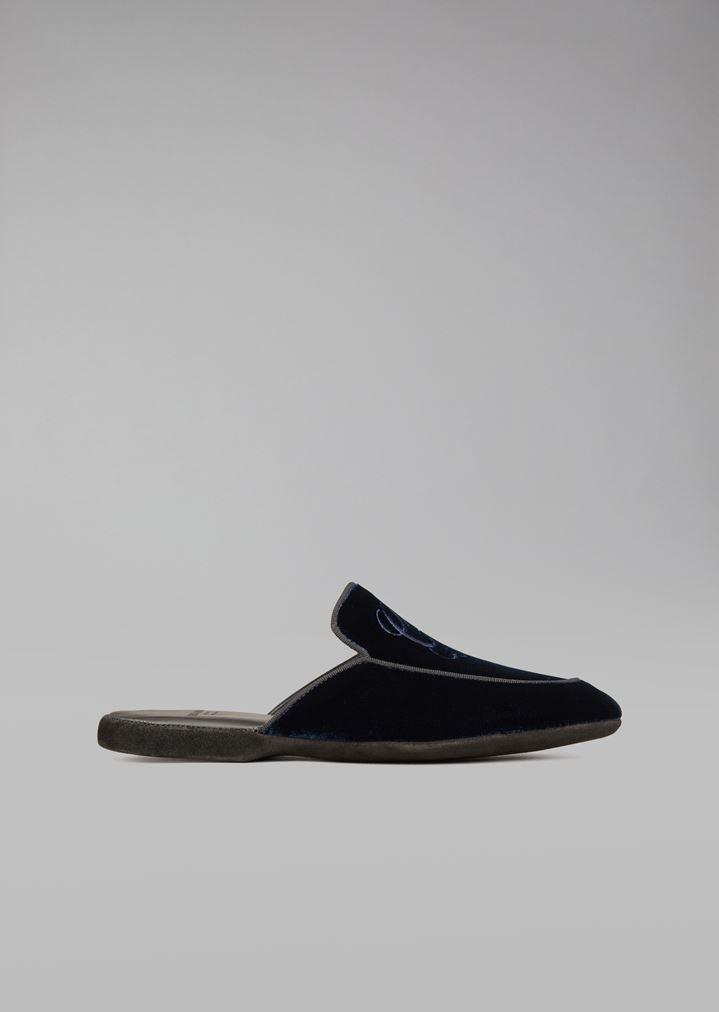 Super günstig extrem einzigartig heißer verkauf authentisch Pantoffeln aus Samt mit Logostickerei | Damen | Giorgio Armani