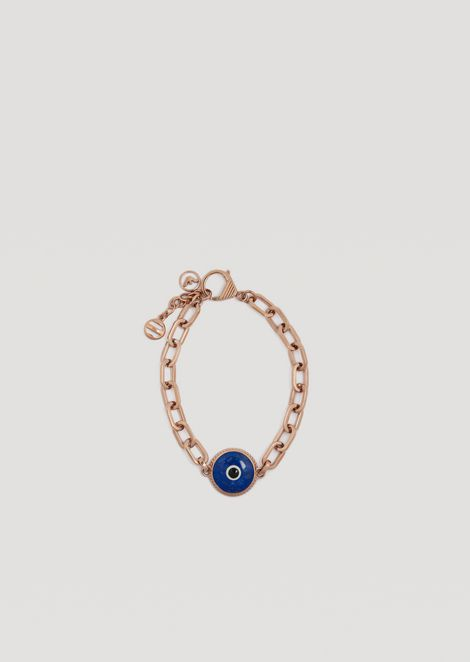 Eyes on the World Bracelet in Stainless Steel with Good Luck Charm
