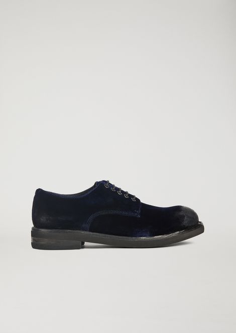 Brushed velvet Derby with contrast sole