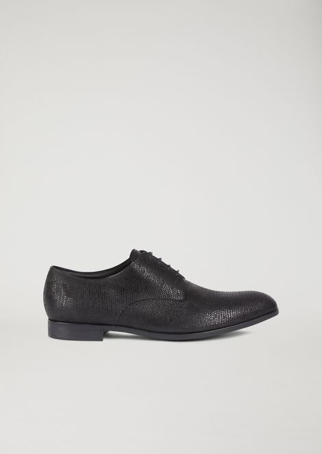 Santiago leather Derby with textured grain