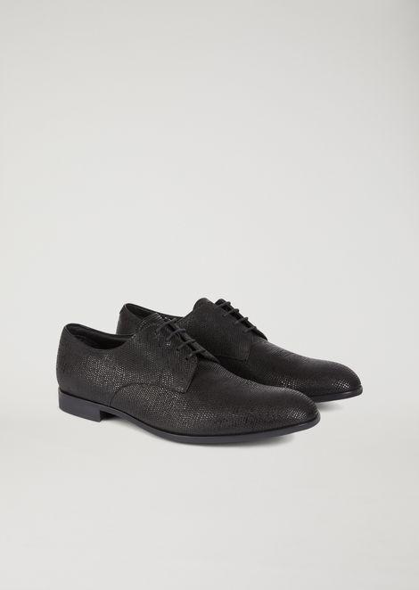 Zapatos derby de piel Santiago con granulado labrado