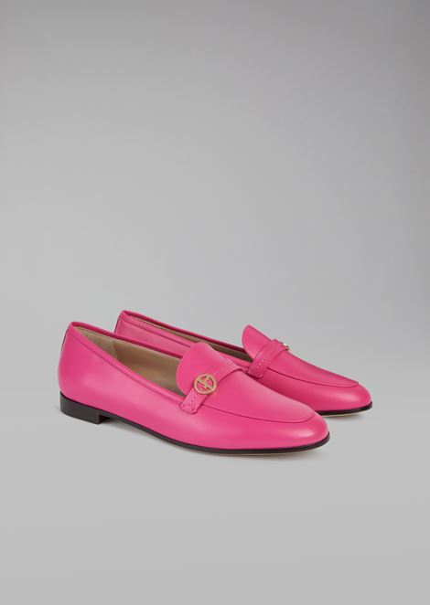 Leather moccasins with logo detail