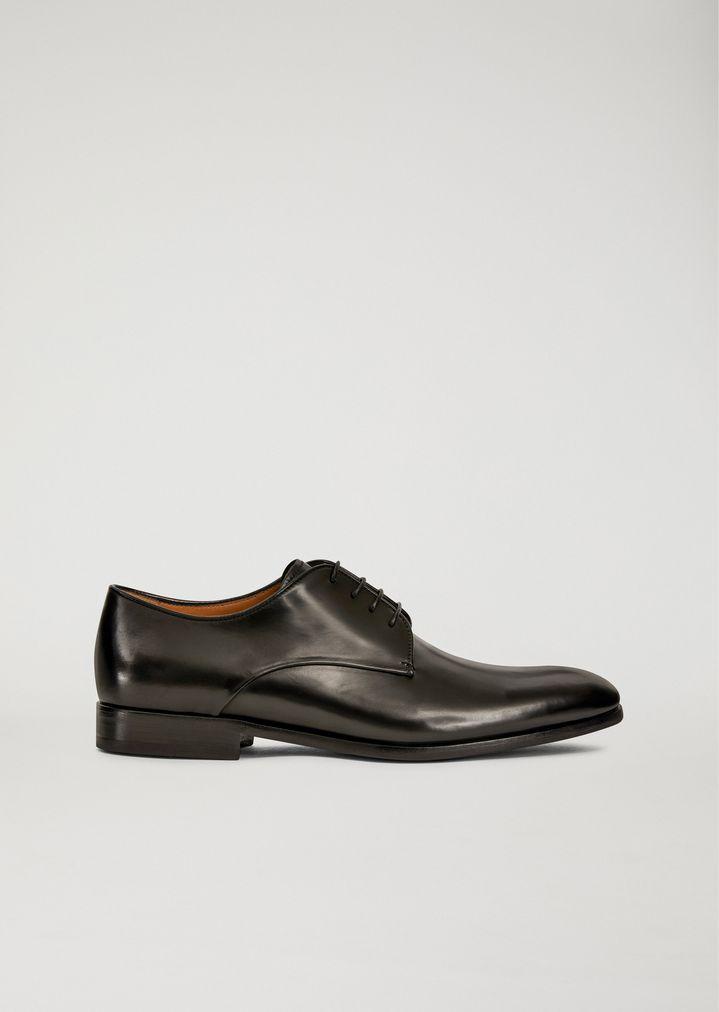 338c482eb78 Zapatos con cordones de piel abatanada | Hombre | Giorgio Armani