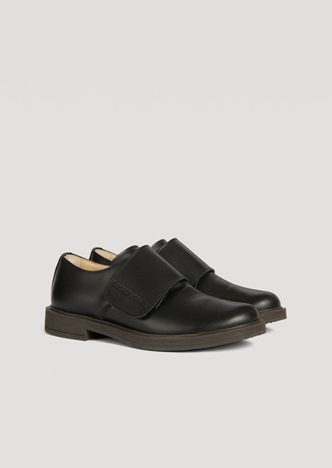 Monk strap in glossy leather with Emporio Armani logo