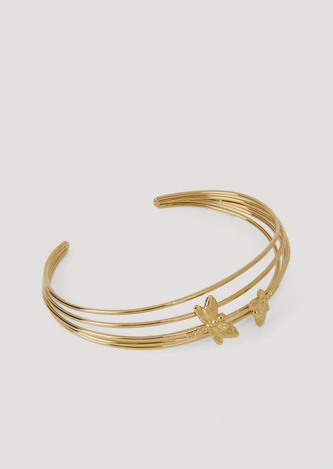 Spiral bangle bracelet with dragonflies