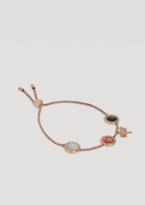 Bracelet featuring enamel hoops with logo and pendant