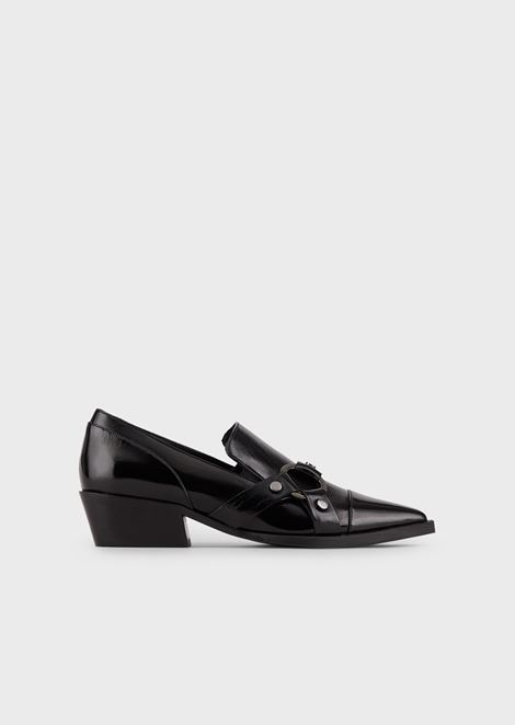 Eco patent leather monk-strap shoes with sheepskin details