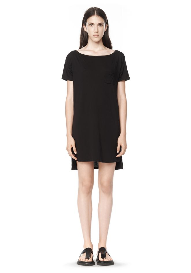 T by ALEXANDER WANG t-by-alexander-wang-classics CLASSIC BOATNECK DRESS WITH POCKET