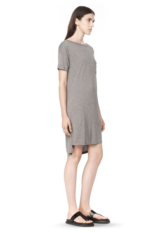T by ALEXANDER WANG CLASSIC BOATNECK DRESS WITH POCKET Short Dress Adult 12_n_a