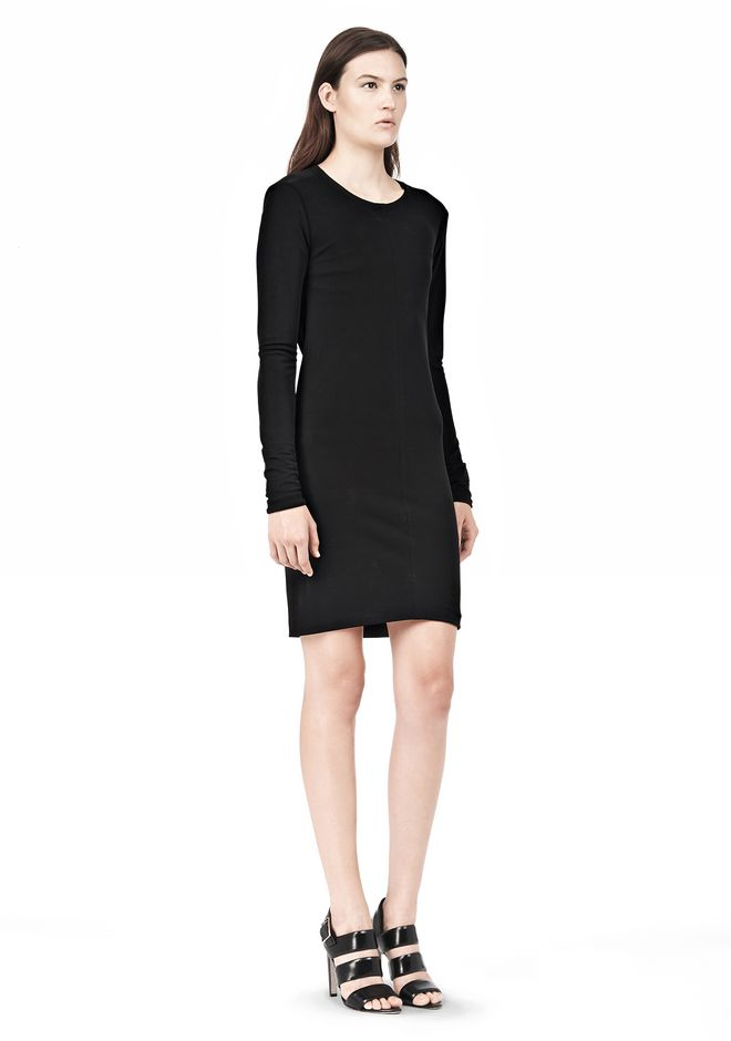 T by ALEXANDER WANG MATTE JERSEY LONG SLEEVE DRESS WITH OPEN BACK Short Dress Adult 12_n_e