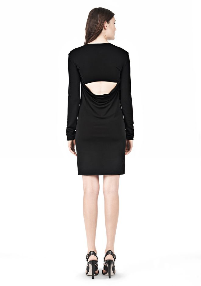 T by ALEXANDER WANG MATTE JERSEY LONG SLEEVE DRESS WITH OPEN BACK Short Dress Adult 12_n_r