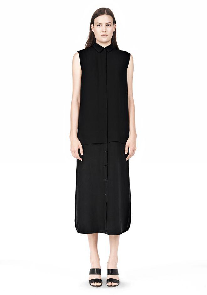 T by ALEXANDER WANG SILK CHFFON OVER CDC SHIRT DRESS 3/4 length dress Adult 12_n_f