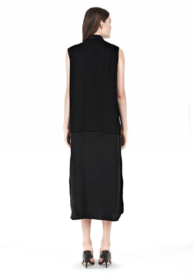 T by ALEXANDER WANG SILK CHFFON OVER CDC SHIRT DRESS 3/4 length dress Adult 12_n_r