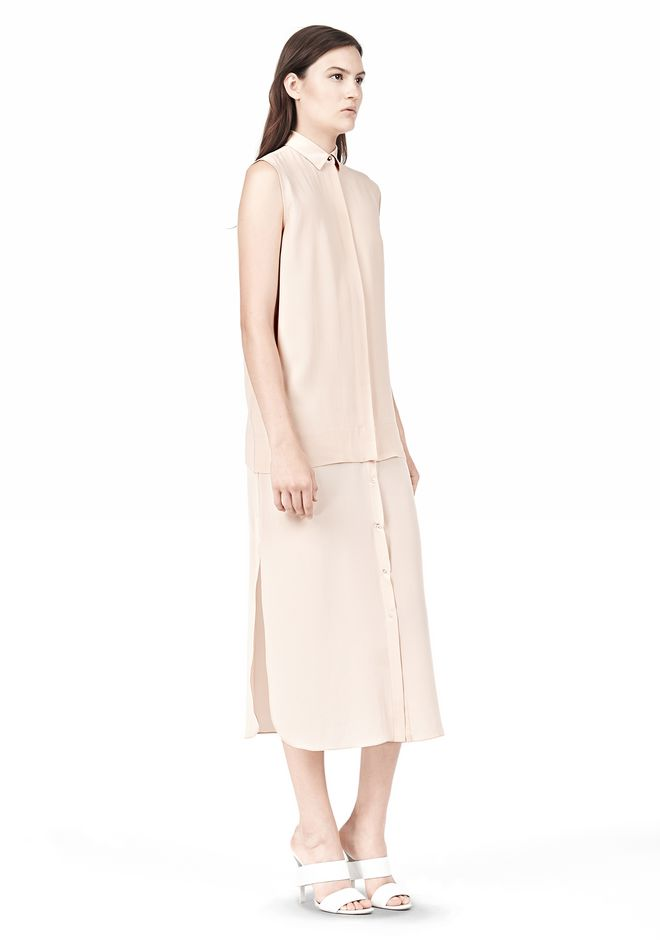 T by ALEXANDER WANG SILK CHFFON OVER CDC SHIRT DRESS 3/4 length dress Adult 12_n_e