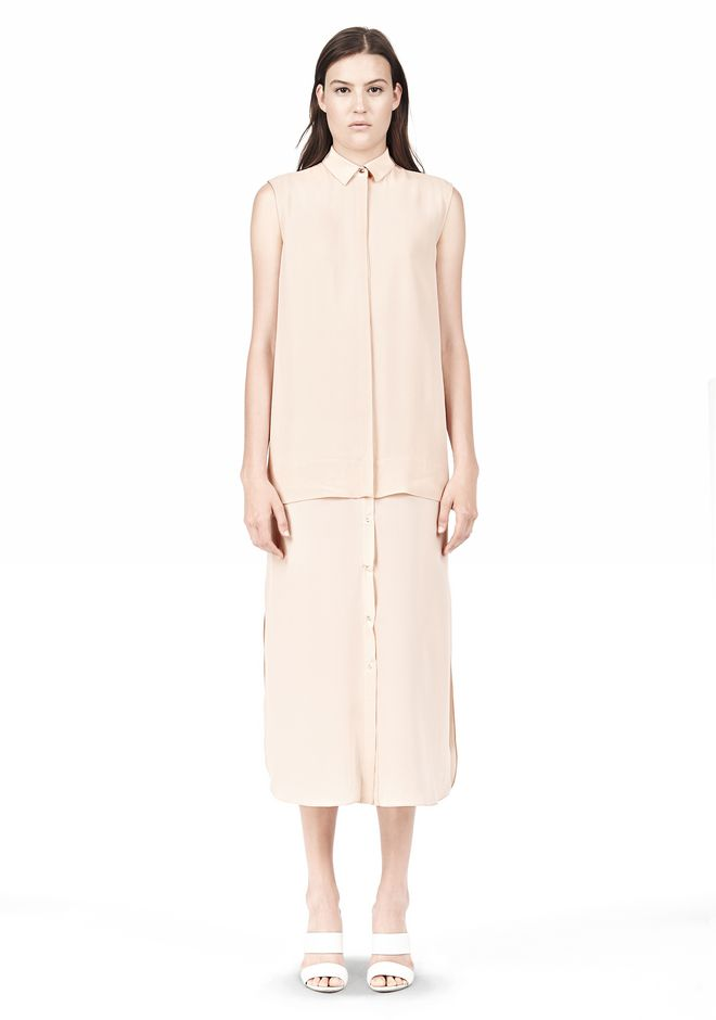 T by ALEXANDER WANG SILK CHFFON OVER CDC SHIRT DRESS 3/4 length dress Adult 12_n_f