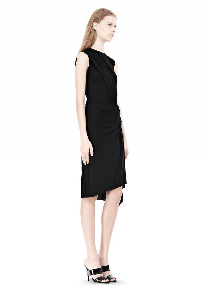 ALEXANDER WANG TWISTED DRAPE FRONT SLEEVLESS DRESS Short Dress Adult 12_n_d