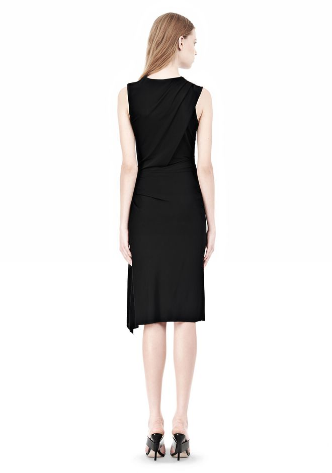 ALEXANDER WANG TWISTED DRAPE FRONT SLEEVLESS DRESS Short Dress Adult 12_n_r