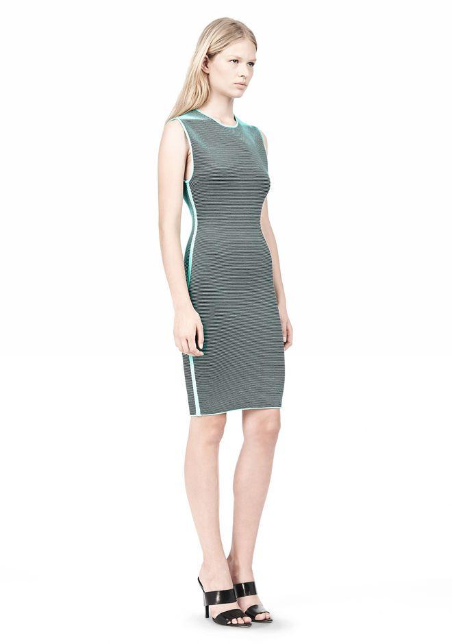 ALEXANDER WANG OPTICAL STRIPE FITTED DRESS KNIT DRESS Adult 12_n_e