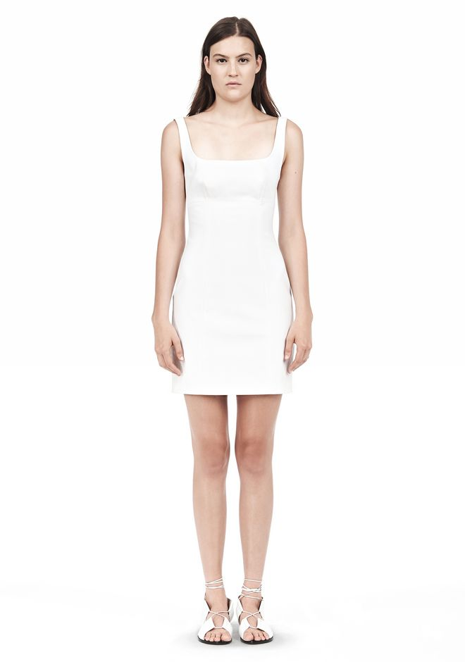 T by ALEXANDER WANG DOUBLE FACE STRETCH COTTON SQUARE NECK DRESS Short Dress Adult 12_n_f