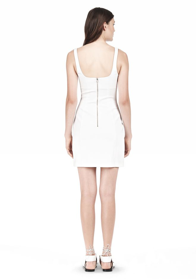 T by ALEXANDER WANG DOUBLE FACE STRETCH COTTON SQUARE NECK DRESS Short Dress Adult 12_n_r