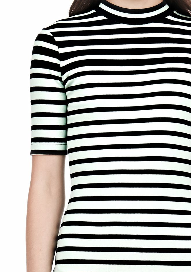 T by ALEXANDER WANG COMPACT COTTON ENGINEERED STRIPE SHORT SLEEVE DRESS Short Dress Adult 12_n_a