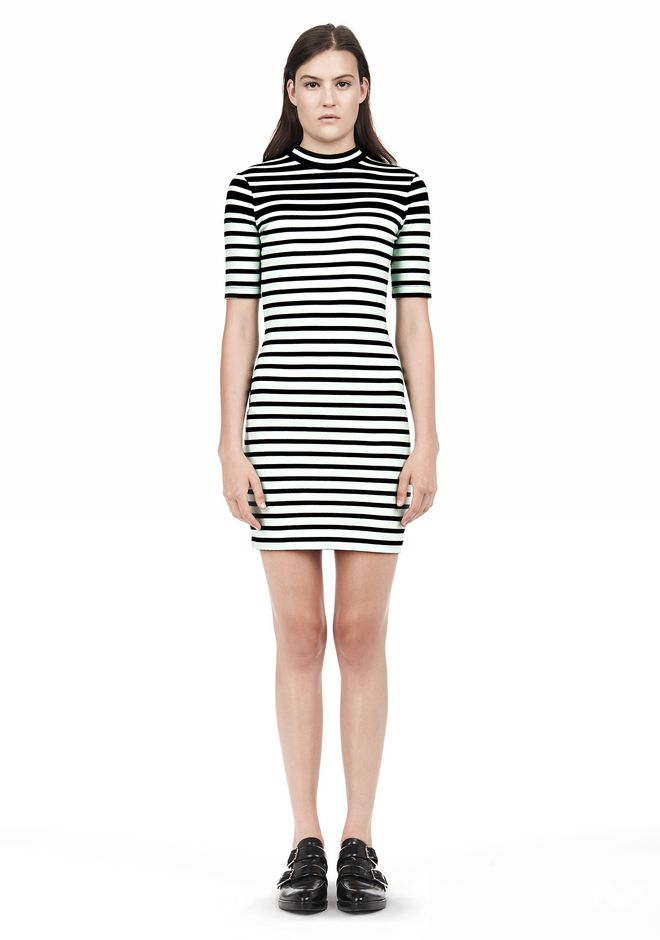 T by ALEXANDER WANG COMPACT COTTON ENGINEERED STRIPE SHORT SLEEVE DRESS Short Dress Adult 12_n_f