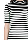 T by ALEXANDER WANG COMPACT COTTON ENGINEERED STRIPE SHORT SLEEVE DRESS Short Dress Adult 8_n_a
