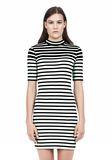 T by ALEXANDER WANG COMPACT COTTON ENGINEERED STRIPE SHORT SLEEVE DRESS Short Dress Adult 8_n_d
