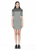 T by ALEXANDER WANG COMPACT COTTON ENGINEERED STRIPE SHORT SLEEVE DRESS Short Dress Adult 8_n_f